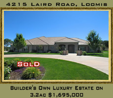 Builder's own luxury custom home for sale on 3.2 acres for $1,899,000.  4215 Laird Road, Loomis, CA