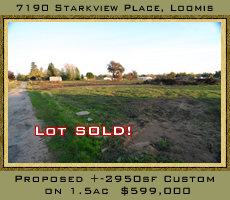 Proposed 2950 square foot custom home on 1.5 acres for $599,000.  7190 Starkview place in Loomis, CA.